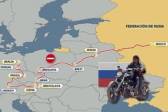 Moteros rusos conmemoran la victoria en la II Guerra Mundial recorriendo Europa